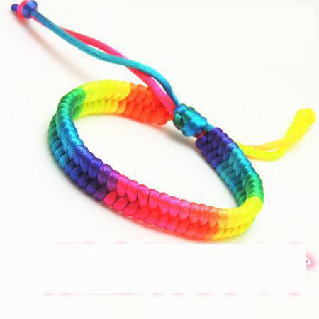 100pcs Wholesale Pulsera Gay Pride Woven Rainbow Bracelets Hot Color Jewelry Lesbian Bracelets Men Women Collares