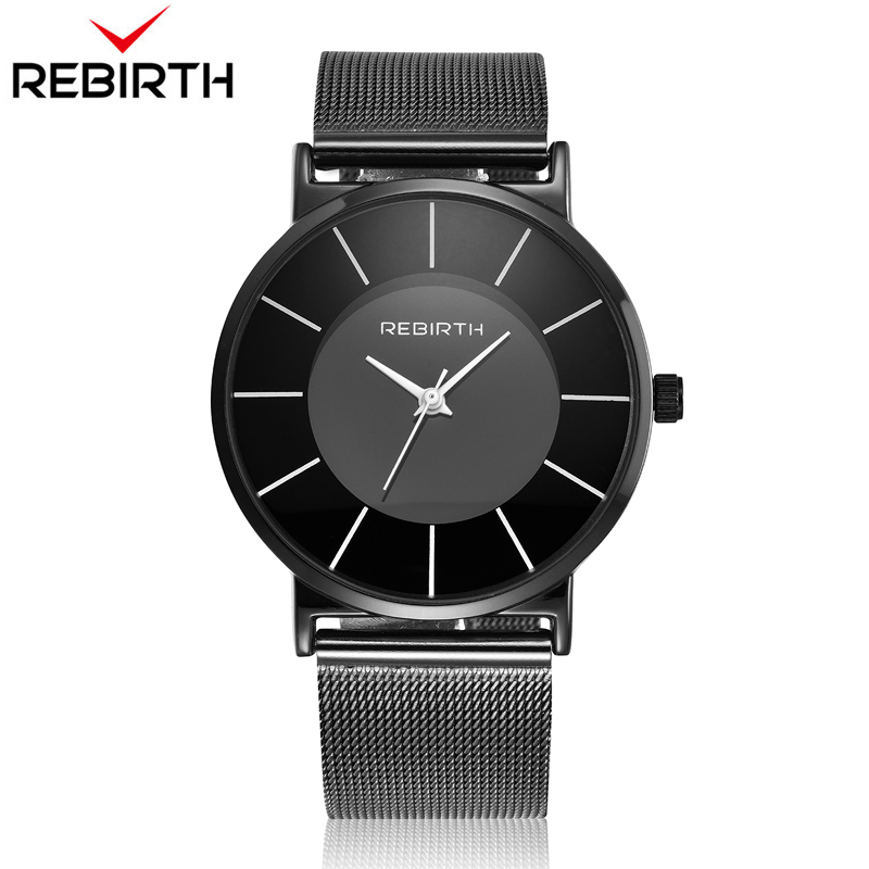REBIRTH Luxury Brand Ultra Thin Women Watches Elegant Charm Ladies Wristwatch Steel Mesh Strap Rebirth Female Clock Watch dark matter v 1 rebirth