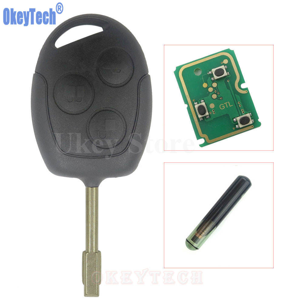 OkeyTech 3 Buttons Auto Replacement Remote Key Fob 433MHz 4D60 Chip For Ford Mondeo Focus Transit Full Complete Key Car Remotkey