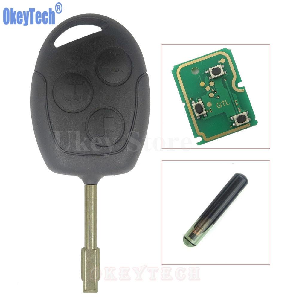 OkeyTech 3 Tasten Auto Ersatz Remote Key Fob 433 MHz 4D60 Chip Für Ford Mondeo Focus Transit Voll Komplette Schlüssel Auto Remotkey