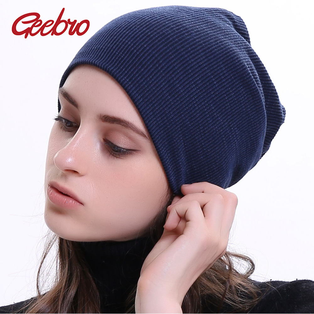 Geebro Women Knitted Ribbed   Beanies   Hat Winter Cap Solid Color Hip-hop Slouch Hats   Skullies   Chapeu Feminino DQ400N