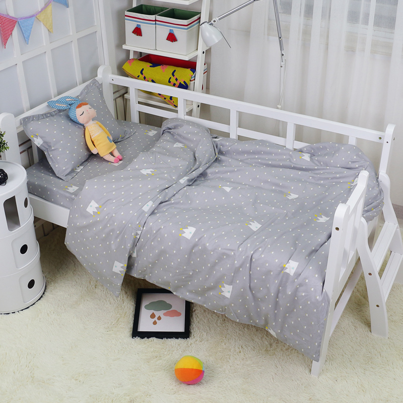 11 Sizes Duvet Covers For Baby Bedding Set Customized Size 100% Cotton Quilt Cover For Children Teenagers Grey Crown Bed Linen