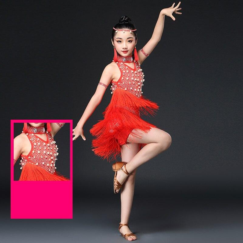 0d76b502d Latin Dance Dress for Girl Tassel Competitive Costume Elegant Children  Ballroom Dance Dresses Kids Salsa Rumba