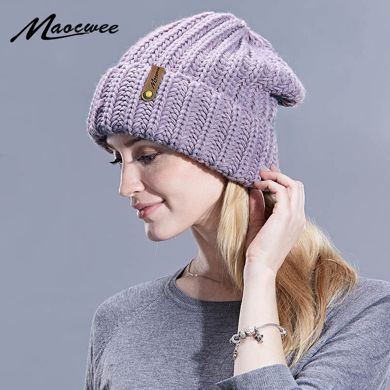 Beanies   Hats & Caps Women Winter Knitted Wool Large Size Cap Men Casual Unisex Solid Color Hip-Hop   Skullies     Beanie   Warm Hat