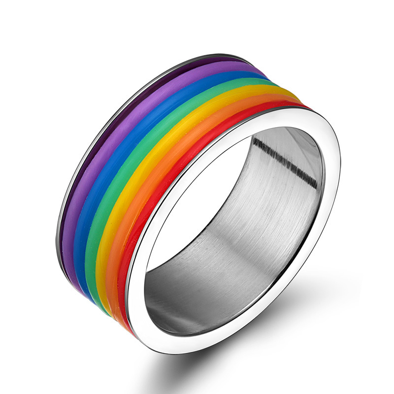 fashion rainbow wedding rings for men and women wholesale gay pride ring with stone free shipping - Gay Wedding Rings