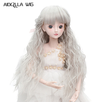 Free Shipping High Quality Cheap Synthetic White Gray Color 1/3 1/4 1/6 Bjd Girl Doll Curly Wigs on Sale Accessories Doll
