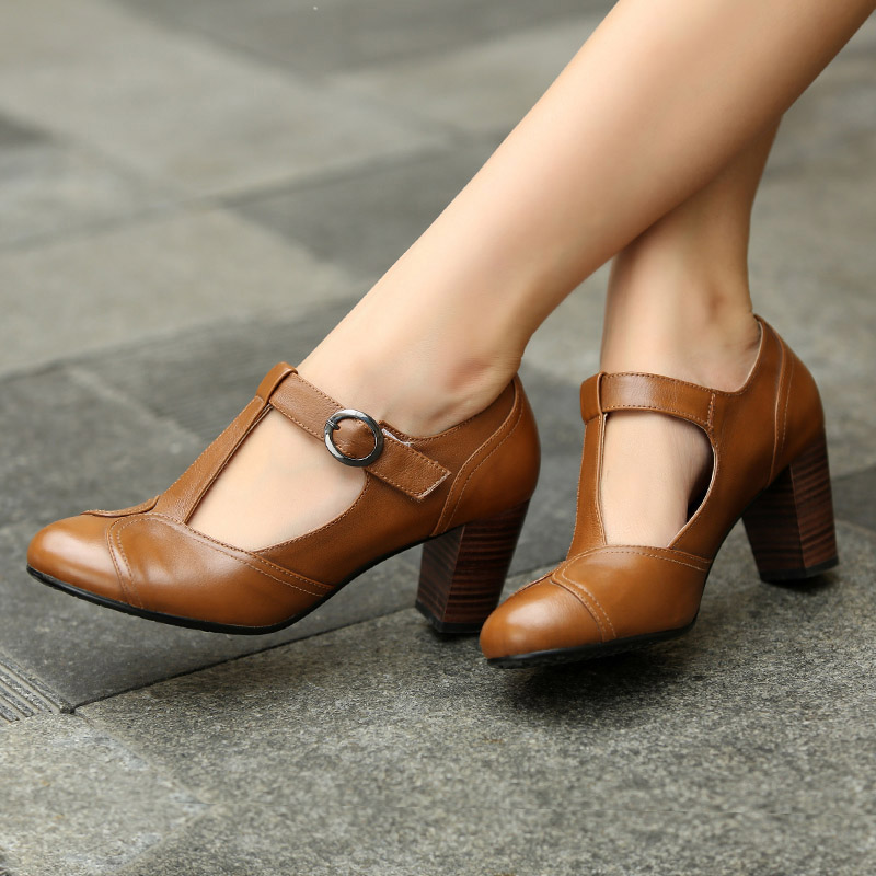 Ankle Strap Heels Wrap Full Grain Leather T Low Cut Uppers British Style High Quality Round