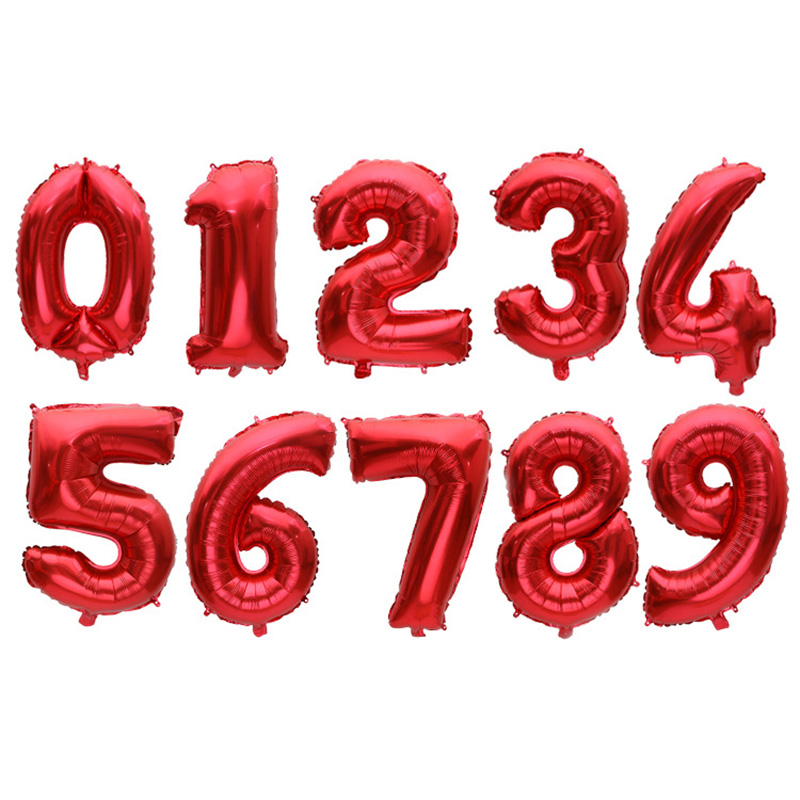 Debenhams Wedding Service Gift List Number: 1 Pc/Lot 32 Inch Red Digit Foil Number Balloons Helium
