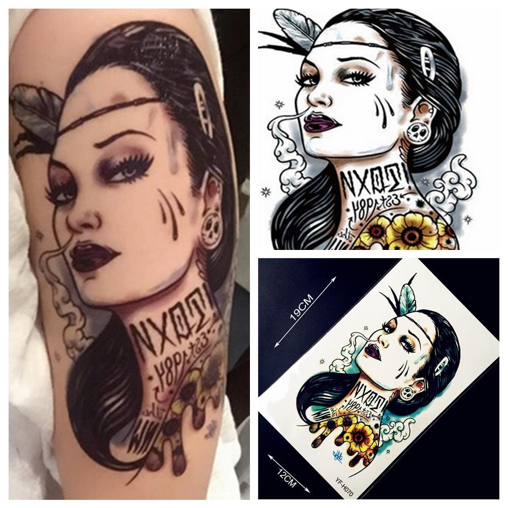 1pc sexy women punk designs waterproof tattoo stickers for Old school female tattoos