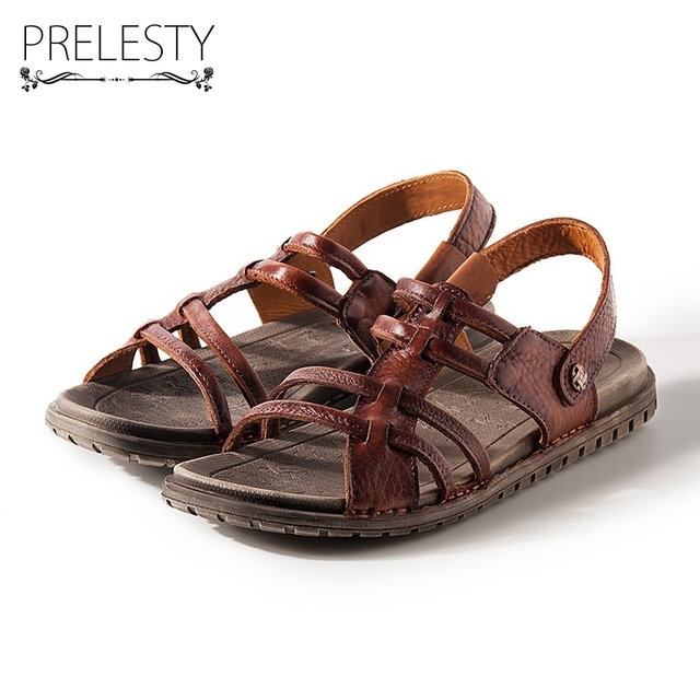 df55de05a87 Prelesty Super Light Men Summer Sandals Genuine Cow Leather Quality Slippers  Anti-resisting Beach Holiday Water Pool Shoes DS