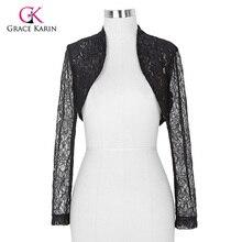 2017 Womens Elegant Long Sleeve Cropped Black White Lace Bolero mariage Shrug Wedding accessories Jackets Bridal Wraps BP49