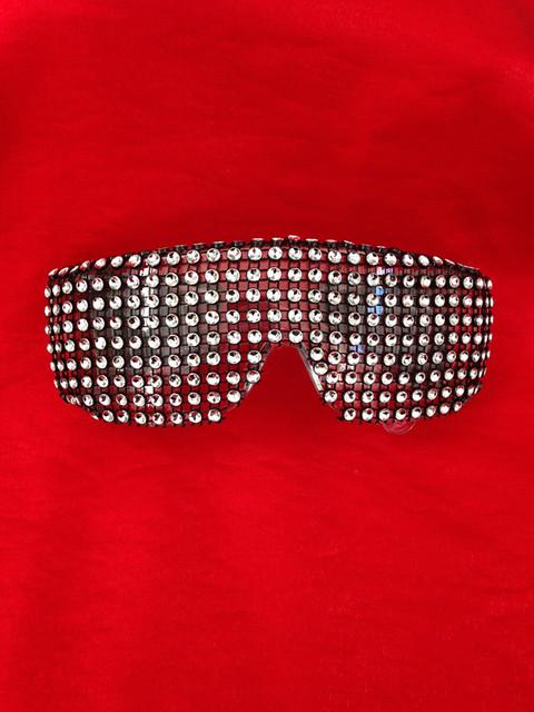 Blanco gafas de escenario bar discoteca DS cantante etapa de iluminación gafas Frescos muestran Accesorios de punk remache gafas de Sol bailarina