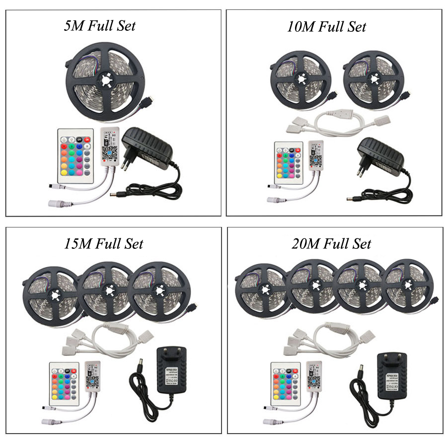 WIFI RGB LED Strip Light SMD 2835 15M 20M RGB tape DC12V Waterproof RGB ribbon diode WIFI RGB LED Strip Light SMD 2835 15M 20M RGB tape DC12V Waterproof RGB ribbon diode 5M 10M led Flexible and WIFI Controller
