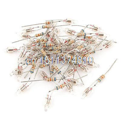 40 Pcs 4x10mm Head Orange Light Neon Bulb Indicator Lamp 100V-220V W Resistor