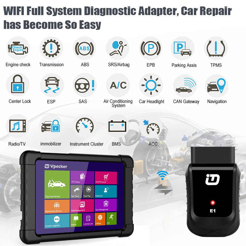 VPECKER Easydiag V10 6 WiFi Professional OBD2 Automotive Scanner Diagnostic  Tool Tablet ABS SRS Reset Oil DPF in Arabic Update