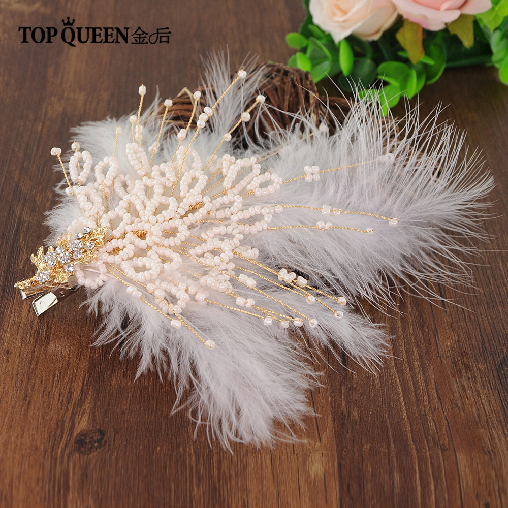 TOPQUEEN HP195 Girlfriend Feathers Headdress Bride Hair Jewelry Handmade Feather Bridal Tiara Wedding Hair Accessories