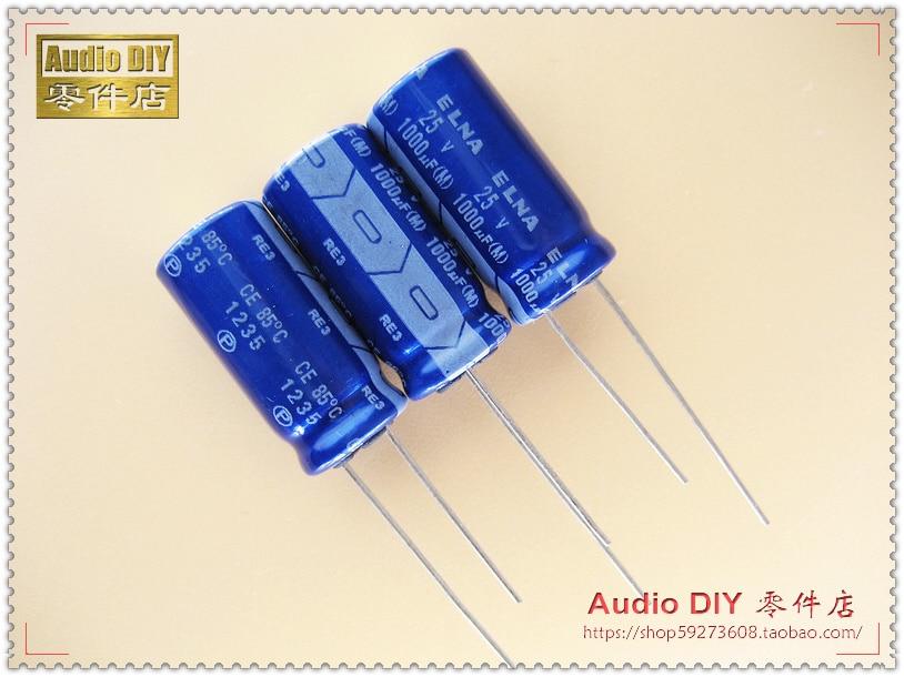 50pcs 1000uF 16V1000uF Audio Capacitor 6V Japan ELNA RE3 8x20mm