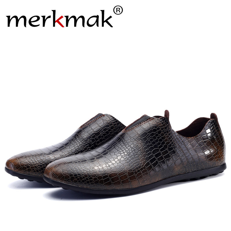 Merkmak Spring Winter Men Shoes Fashion Casual Fur Inner Warm Slip On Breathable Comfortable Loafer Male  Flats Footwear Shoes branded men s penny loafes casual men s full grain leather emboss crocodile boat shoes slip on breathable moccasin driving shoes