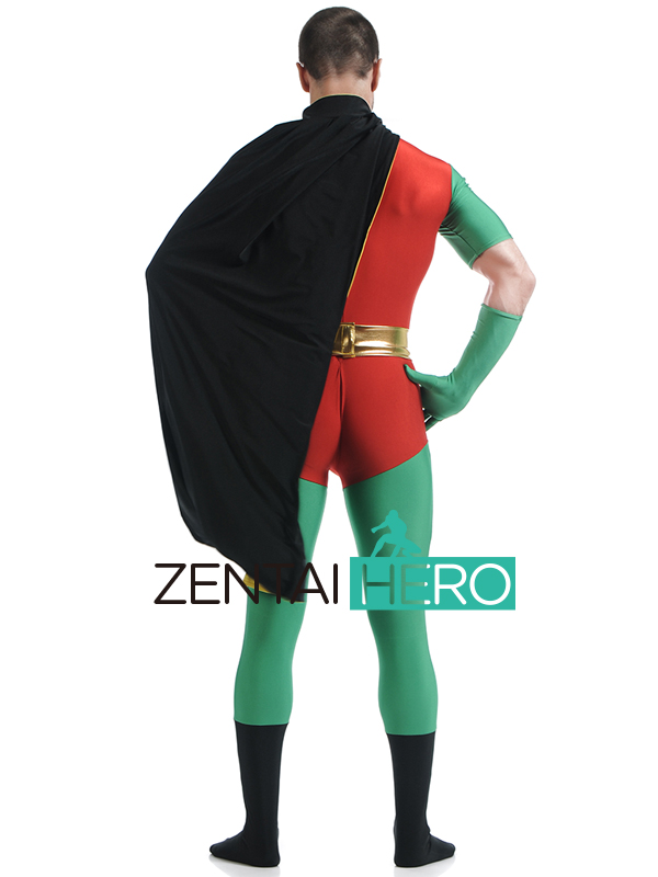Costumes & Accessories Free Shipping Dhl Unisex Black And Red Robin Lycra Spandex Superhero Costume Skin-tight Catsuit With Cape For Halloween Party