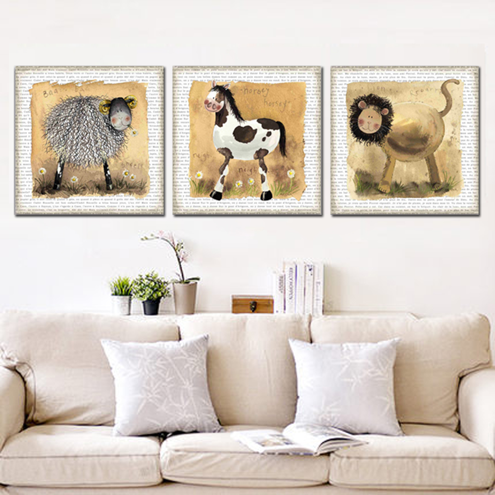 Unframed HD Canvas Cartoon Painting Cows Lion Sheep Prints Wall Pictures For Living Room Wall Art Decoration Free Shipping