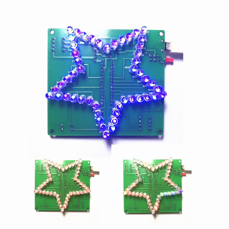 1 PC Colorful Five-Pointed Star LED Water Light 51 MCU LED Lights Electronic DIY Production Kit 5V