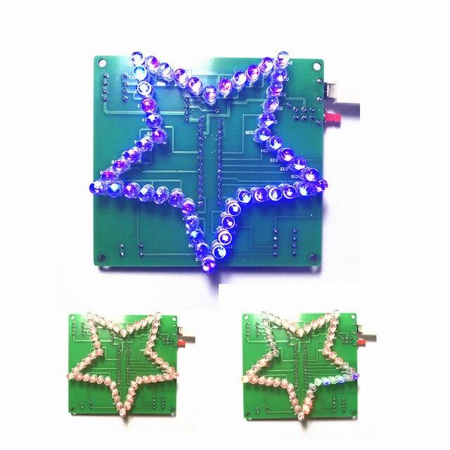 Colorido Estrella de Cinco Puntas LLEVÓ agua Luz 51 MCU luces LED electrónicos de producción DIY kit para enviar el programa