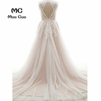 2018 A Line Wedding Dresses With Lace Appliques Robe De Mariage Backless Tulle Vestido De Noiva