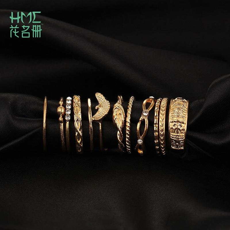 12 Teile/satz Einfachen Stil Alte Gold Ring Set Kristall Ring Gewickelt Knoten Carving Ring Gold Farbe Ring Für Frauen Schmuck