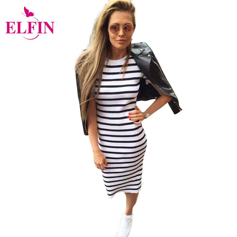 Summer Women Dress Casual Slim Sheath Dresses Round Neck Striped Dress Short Sleeve Bodycon Dresses LJ4862R