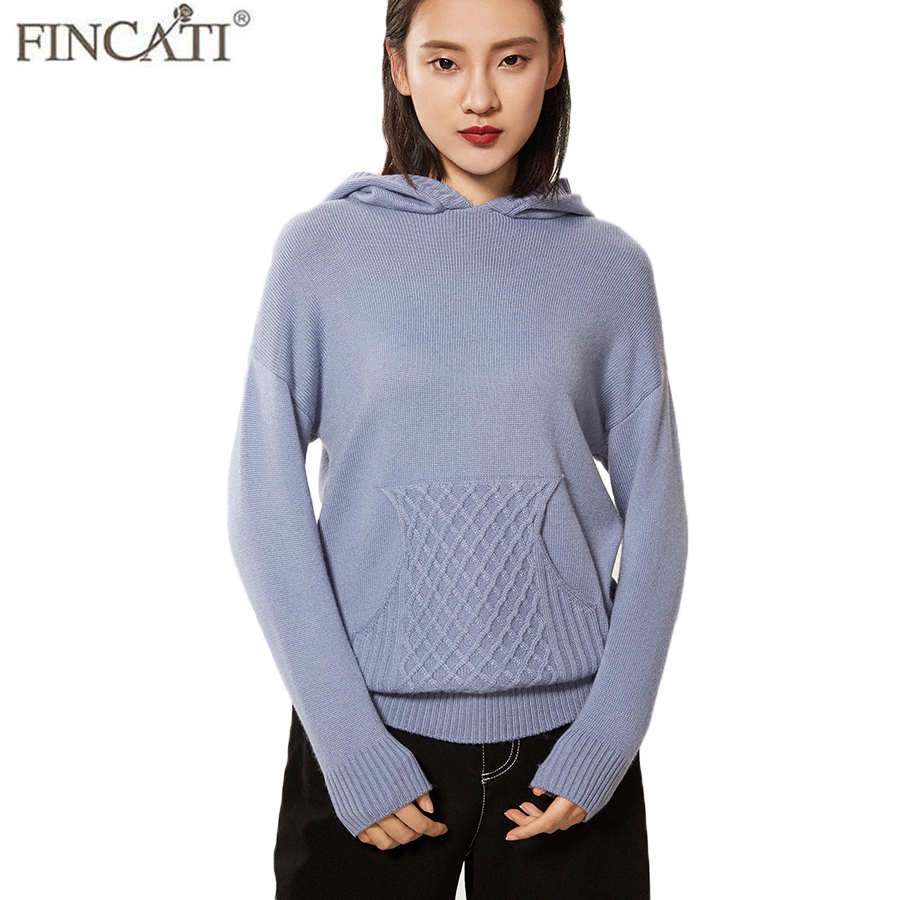 Women Hooded Sweater High End Pure Cashmere Long Sleeve 4 Colors Oversize 2XL Warm Winter Sweaters Pullover Jersey With Pocket