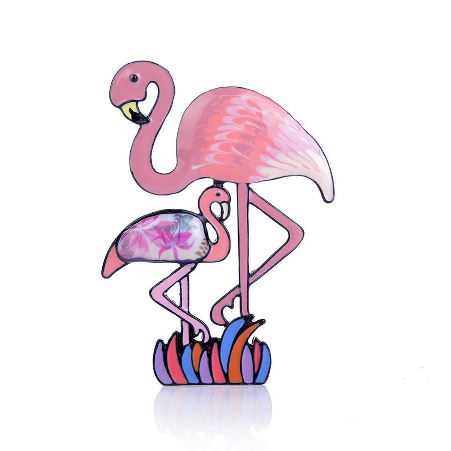 Beberapa Flamingo Vintage Enamel Bros untuk Wanita Aksesoris Lucu Lucu Paduan Kartun Burung Bros Kreatif Pernikahan Perhiasan