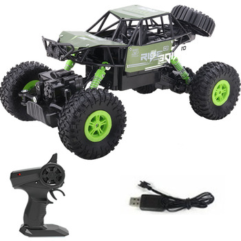 alloy 2.4G rc car 1/16 10km/h Off-Road Drive Bigfoot cars electric four-wheel climbing Double Motors Vehicle toys car for gift 1
