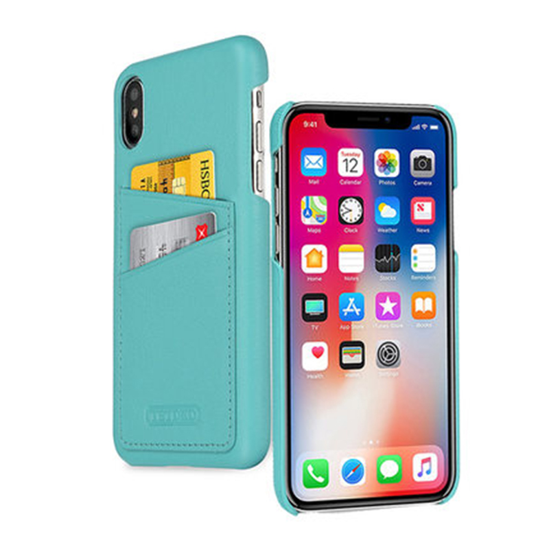 Pour Apple iPhone X étui de luxe en cuir véritable couverture Ultra-mince mince arrière coque de téléphone avec fente pour carte coque de protection pour iP x