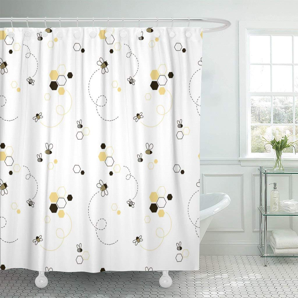 Fabric Shower Curtain Hooks Adorable Honey Bee Kid Design Cute Graphic Baby Beehive Child House Wear In Curtains From Home Garden On Aliexpress
