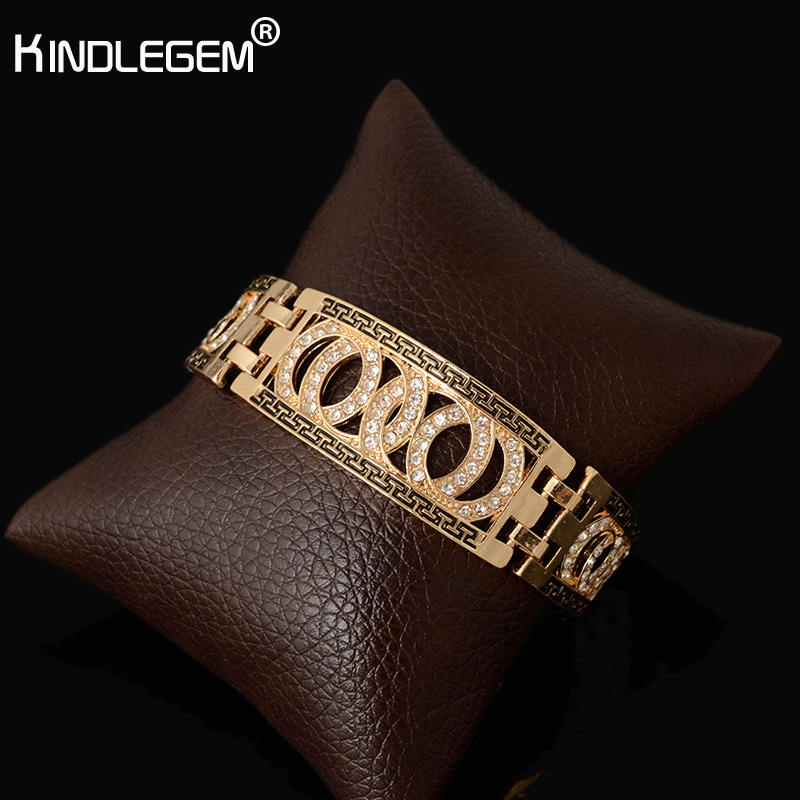 Kindlegem New Famous Brand Jewelry Vintage Crystal Women's Bracelets Dubai Gold Color Cuff Bangles Party Wedding Gift 20CM