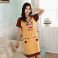 2016 Summer Women's Nightgowns Short-sleeve Dress Cute Girls Sleepwear Cartoon Printed Free Shipping Girl Nightdress