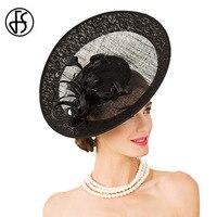 FS Fascinator Wedding Hats For Women Elegant Black Linen Big Wide Brim Cocktail Tea Party Har Vintage Church Dresses Fedora