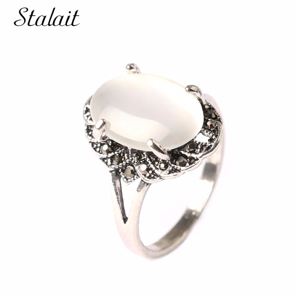 hollow cats eye stone oval opal rings silver color czech rhinestones rings for women tungsten antique wedding bands jewelry - Platinum Wedding Rings For Women