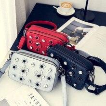 Fashion personality luxury pink diamond rivets chain handbag ladies shoulder bag black pocket mini horizontal line messenger bag