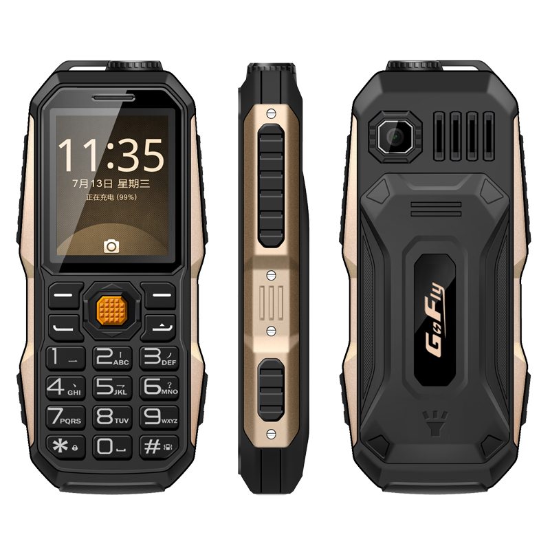 GOFLY 6800 big Sound shockproof dustproof FM radio 3800mAh flashlight mp3 <font><b>power</b></font> bank rugged mobile phone P011
