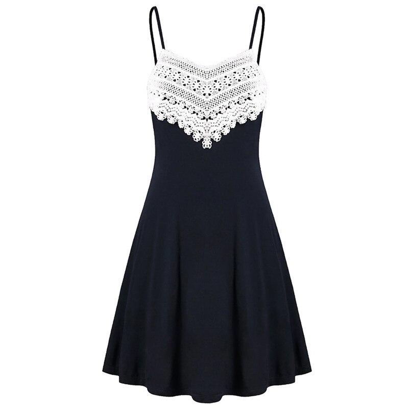 Fashion summer dress 2018 beach dress Womens Crochet Lace Backless Mini Slip Dress Camisole Sleeveless Dress vestidos J08#N (3)