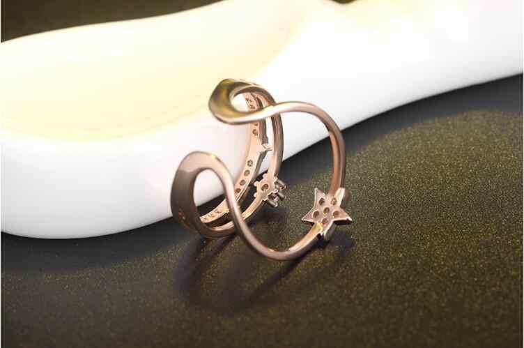 2017新しい到着ホット販売ファッションシャイニークリスタルスター925スターリングシルバーladies 'fingerリングジュエリー卸売ドロップ配送