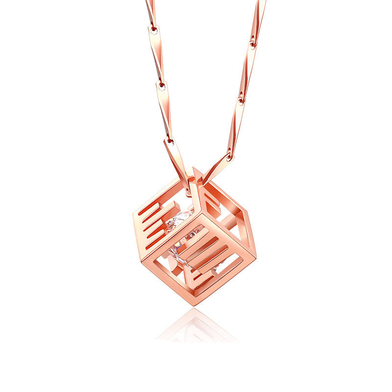 Sweet CZ In Morse Code Cube 925 Silver Necklace