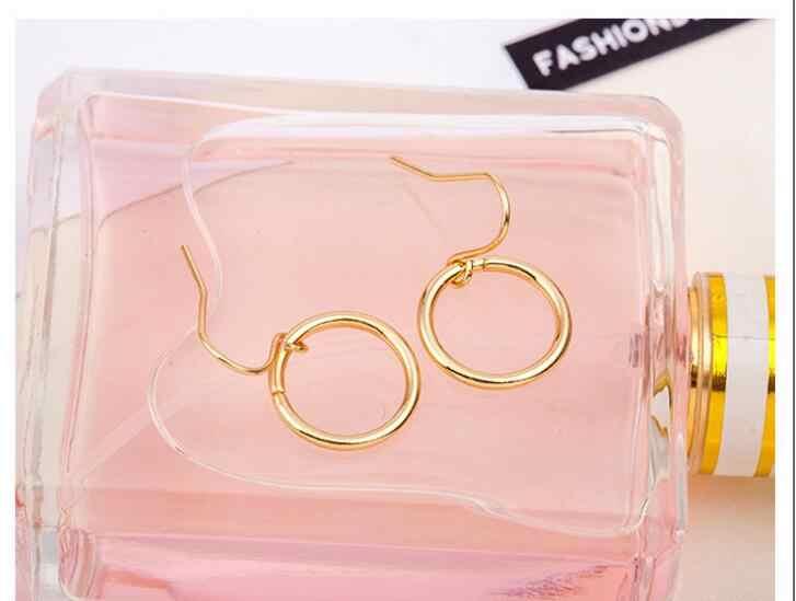 R 12 2017 Nuevo caliente europeo y americano minimalista geométrico hueco círculo pendientes retro moderno oro y plata pendientes hembra