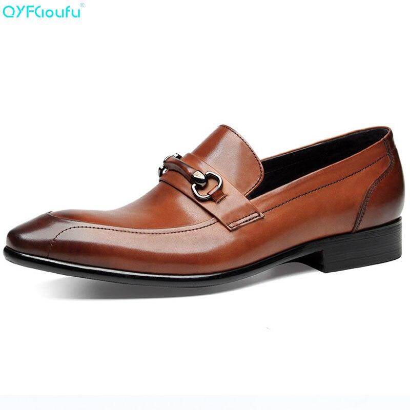 QYFCIOUFU/Дизайнерские Роскошные брендовые туфли оксфорды для мужчин, модельные туфли с острым носком, черные, коричневые офисные модельные туф