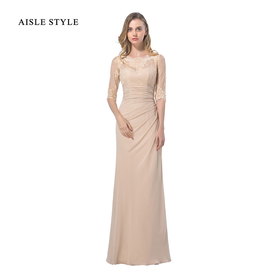 Online get cheap champagne chiffon lace bridesmaid dresses aisle style elegant winter bridesmaid dress vintage boat neck lace chiffon champagne bridesmaid dresses long with ombrellifo Gallery
