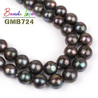 12mm Natural Black Shiny Freshwater Pearl Beads for Jewelry Making Loose Spacer Bead Diy Necklace Bracelet Jewellery 15''