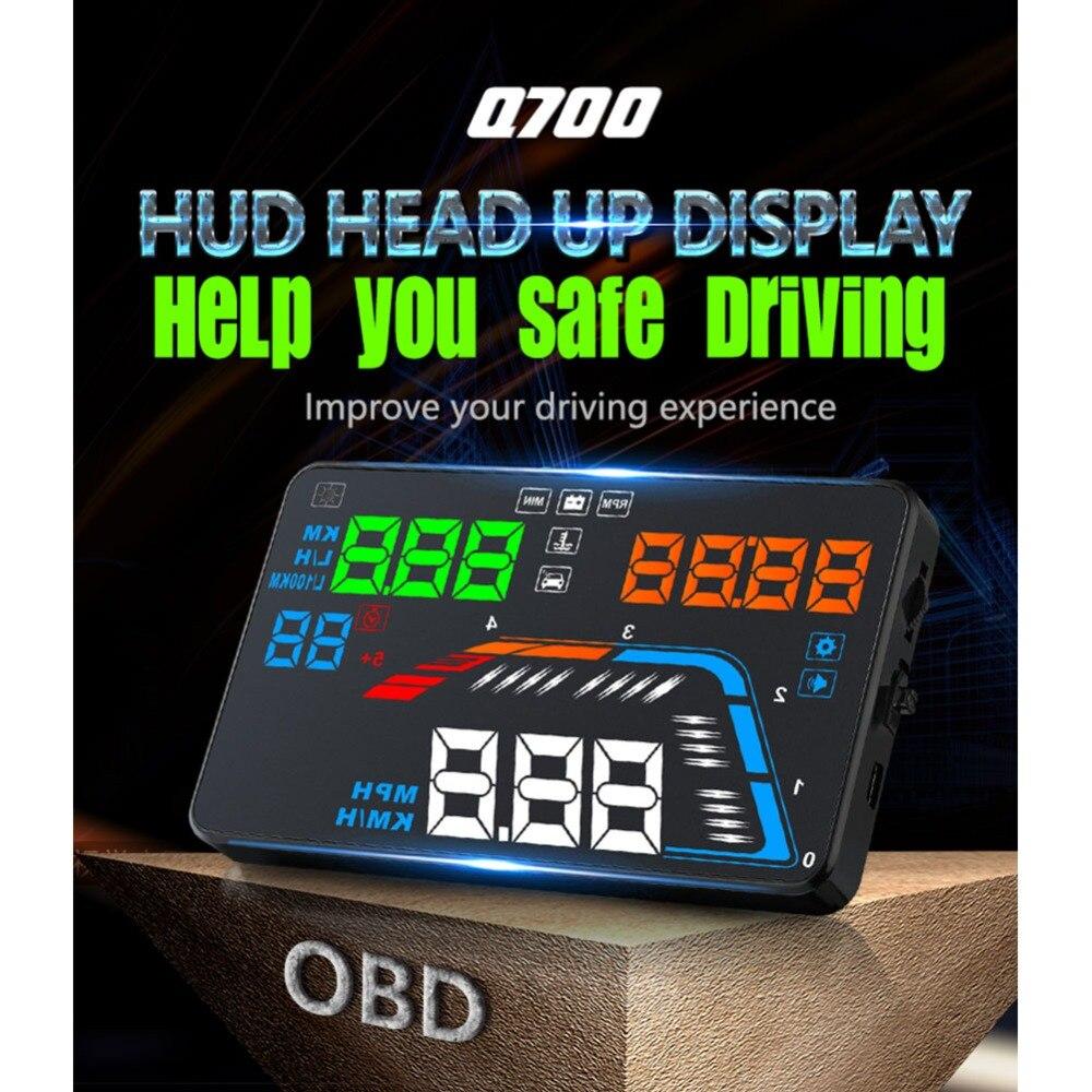 Chaud-vente Q700 Multi-fonctions Version Universelle 5.5 Pouces Écran HUD Voiture affichage numérique
