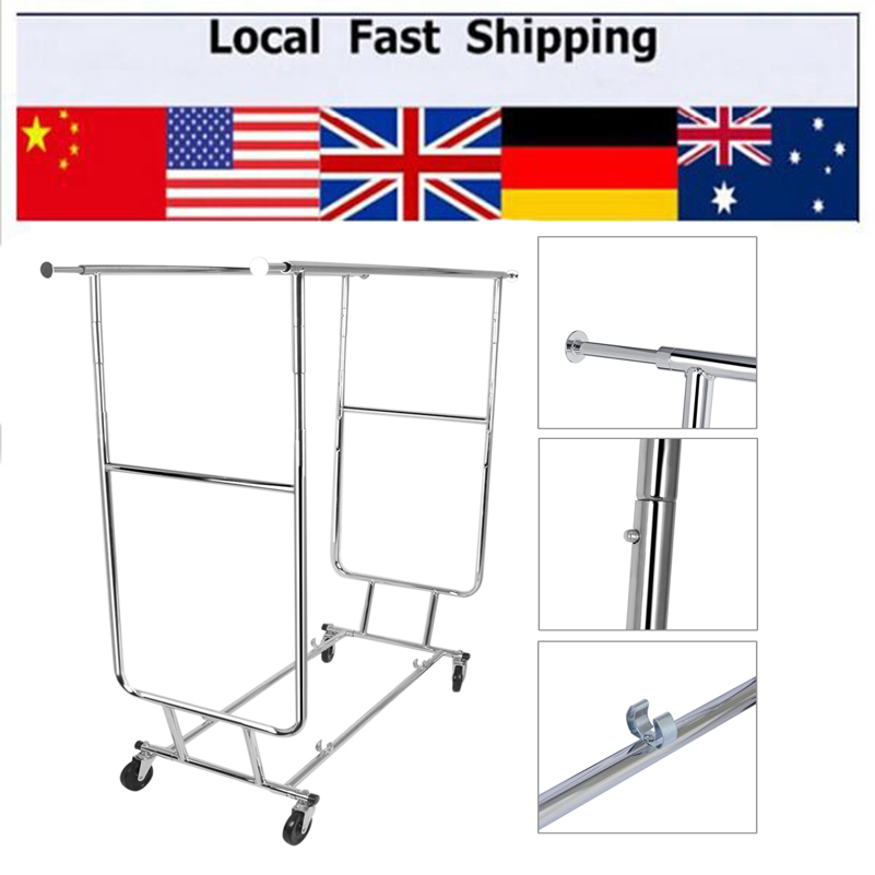ФОТО Hot Double Rail Adjustable Portable Clothes Display Hanger Rolling Rack With Wheels