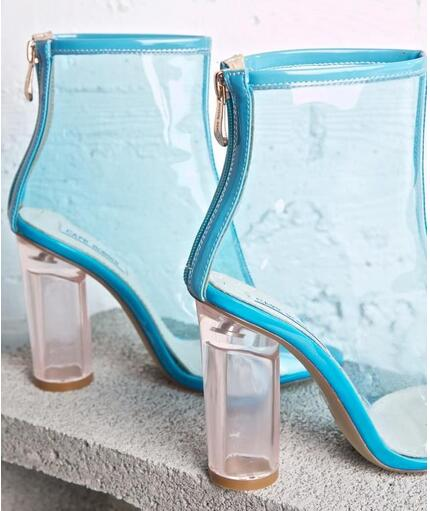 Hot Selling Big Size 10 Clear Patent Leather Chunky Peep-Toe Booties Silver Blue Black Transparent PVC Glitter Heel Bootie